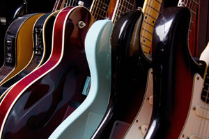 Music shop guitars